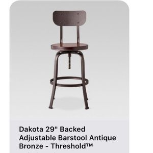 One Dakota adjustable back bar stool